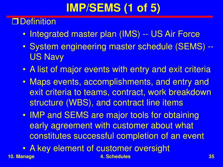 IMP/SEMS (1 of 5)