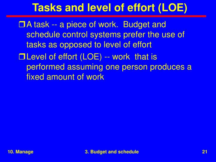 Tasks and level of effort (LOE)