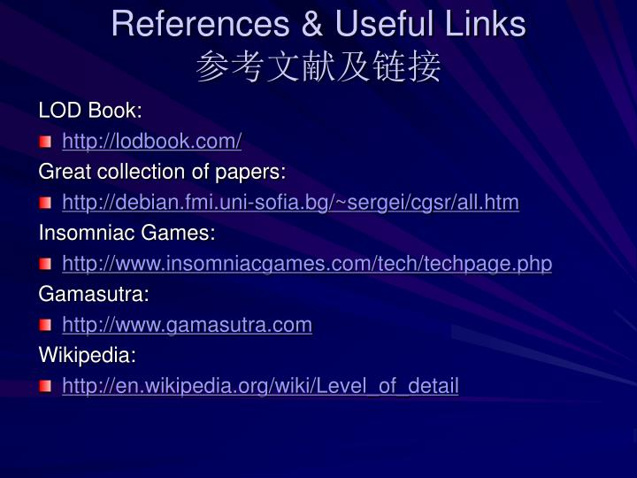 References & Useful Links