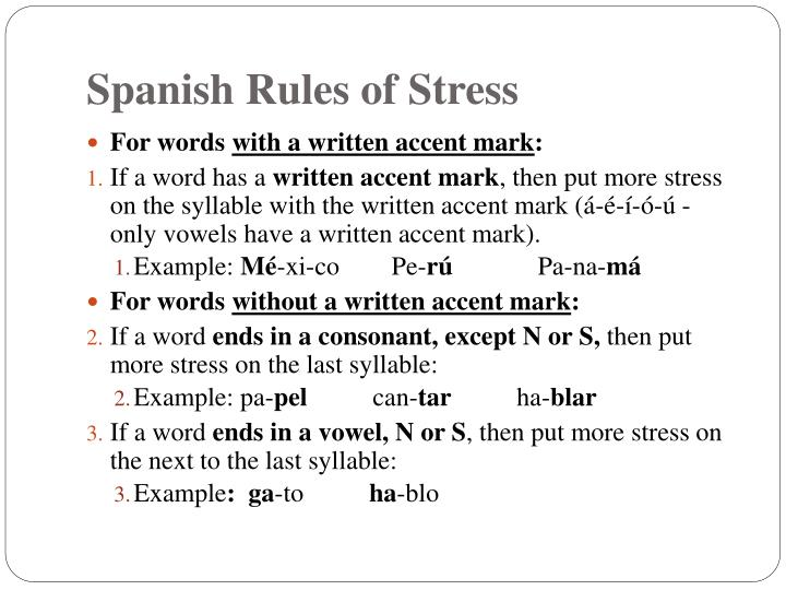 Spanish Rules of Stress