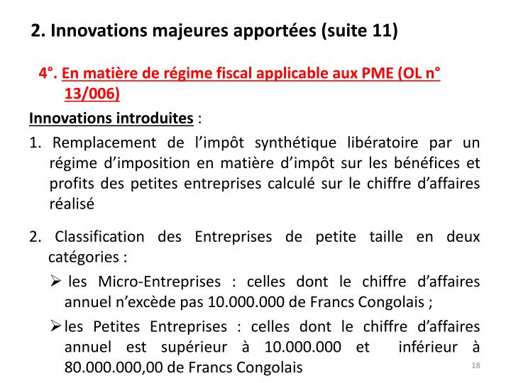 2. Innovations majeures apportées (suite 11)