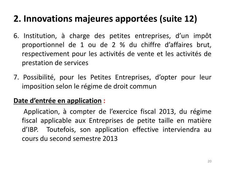 2. Innovations majeures apportées