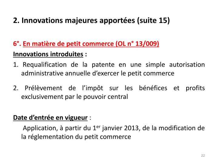 2. Innovations majeures apportées (suite 15)