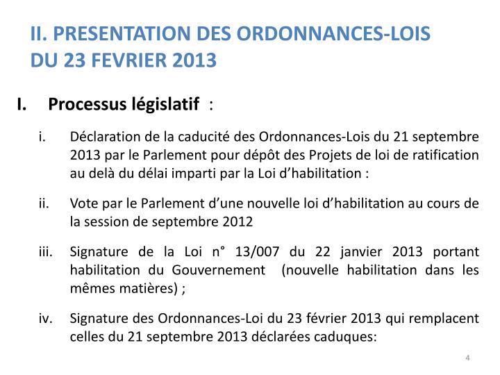 II. PRESENTATION DES ORDONNANCES-LOIS