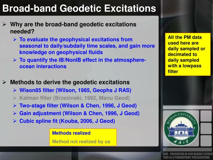 Broad band geodetic excitations
