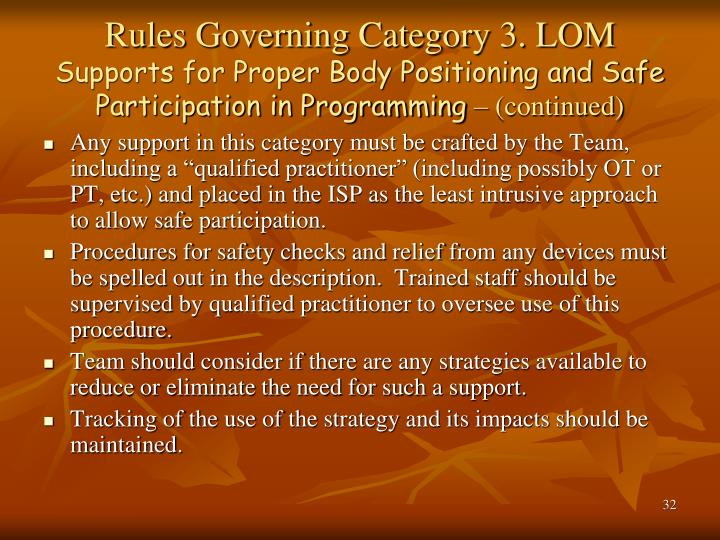 Rules Governing Category 3. LOM
