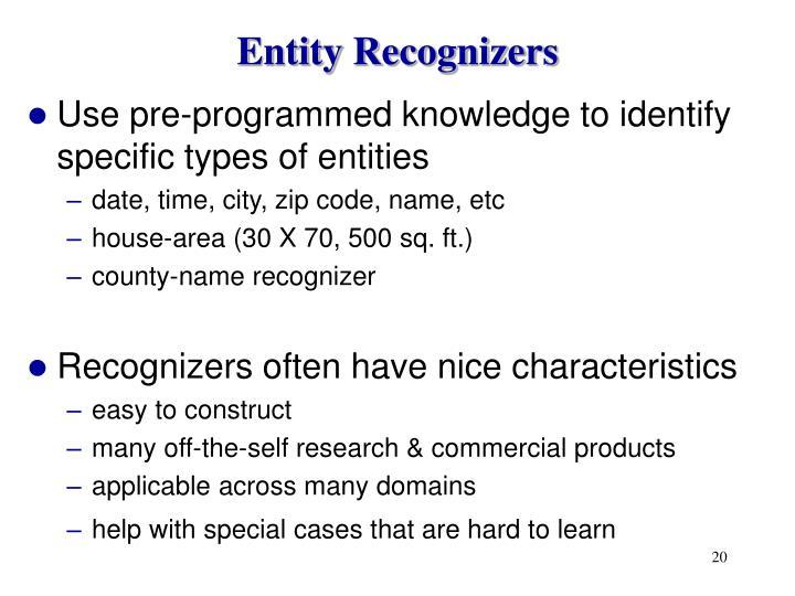 Entity Recognizers