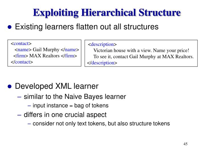 Exploiting Hierarchical Structure
