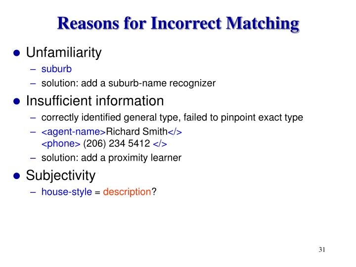 Reasons for Incorrect Matching