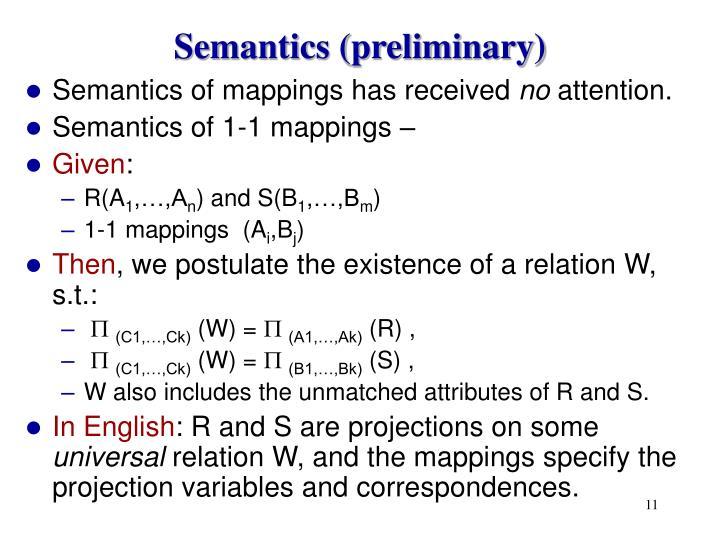Semantics (preliminary)