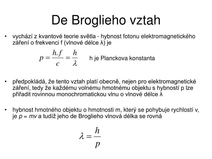 De Broglieho vztah