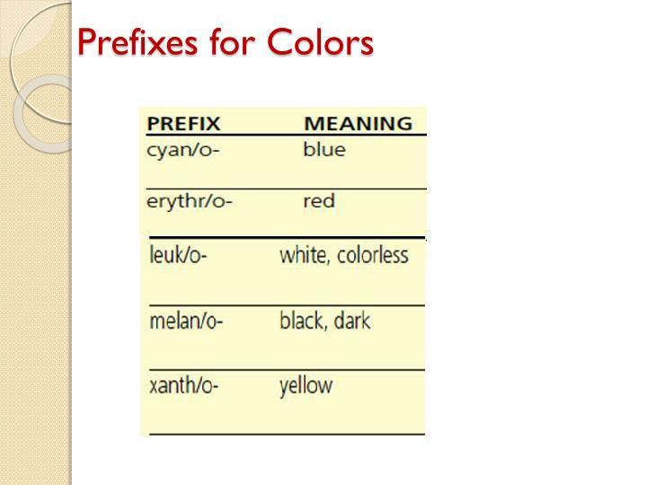 Prefixes for Colors