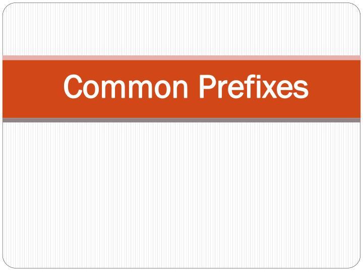 Common Prefixes