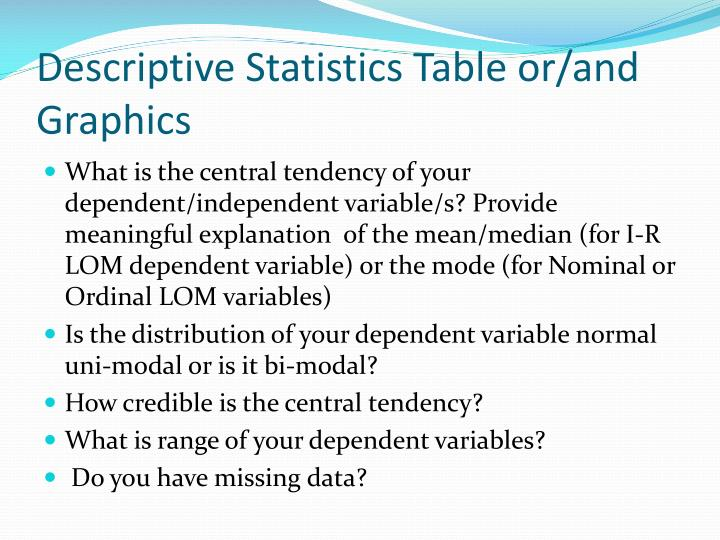 Descriptive Statistics Table or/and Graphics
