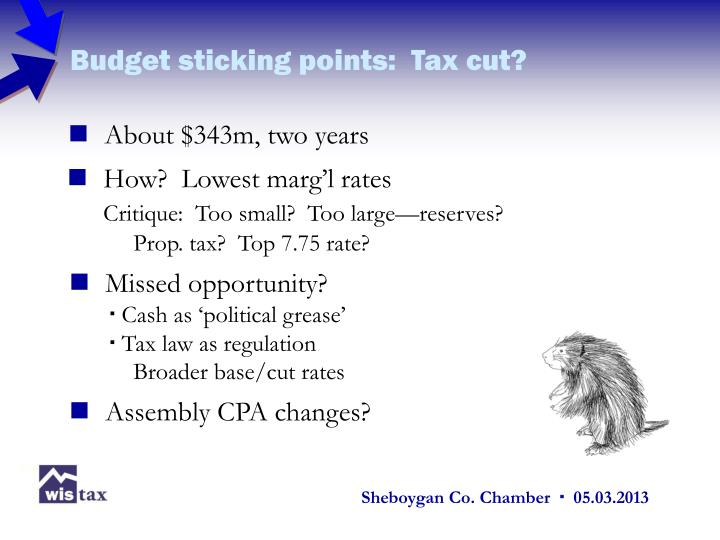 Budget sticking points:  Tax cut?