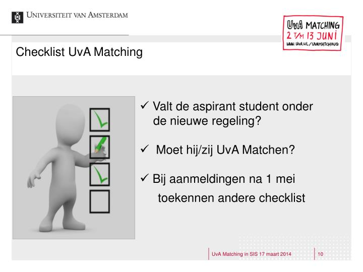 Checklist UvA Matching