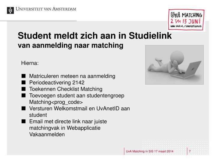 Student meldt zich aan in Studielink
