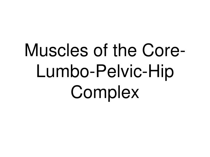 Muscles of the core lumbo pelvic hip complex