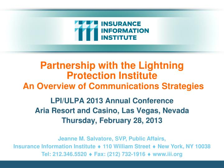partnership with the lightning protection institute an overview of communications strategies n.