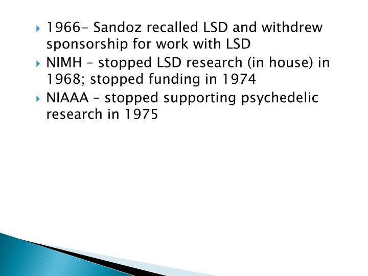 1966- Sandoz recalled LSD and withdrew sponsorship for work with LSD