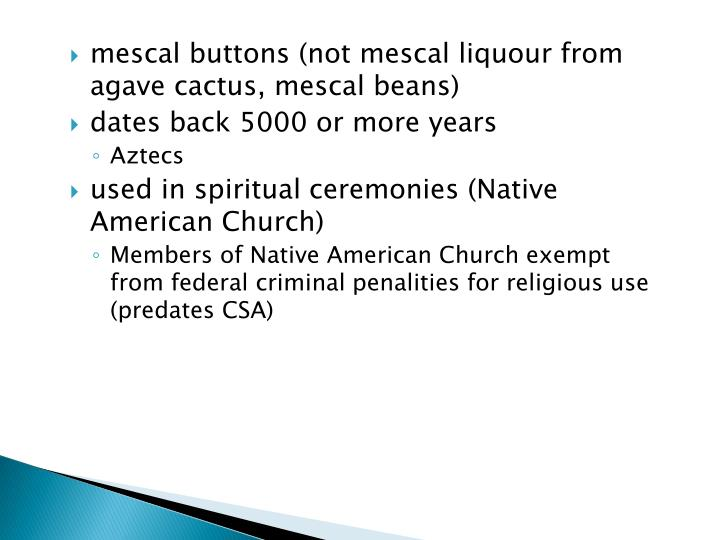 mescal buttons (not mescal liquour from agave cactus, mescal beans)