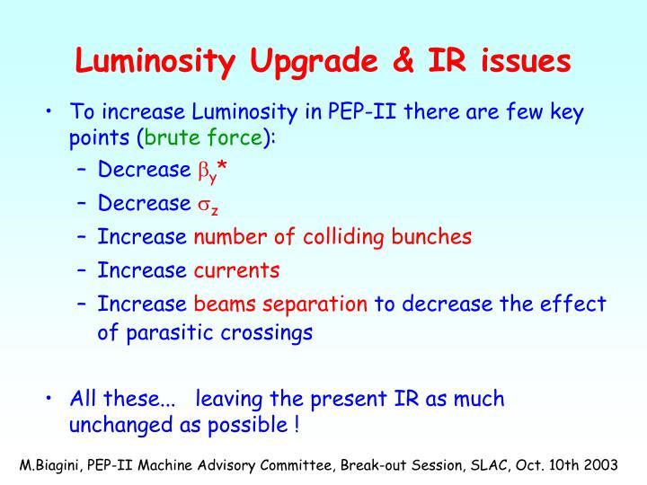 Luminosity Upgrade & IR issues