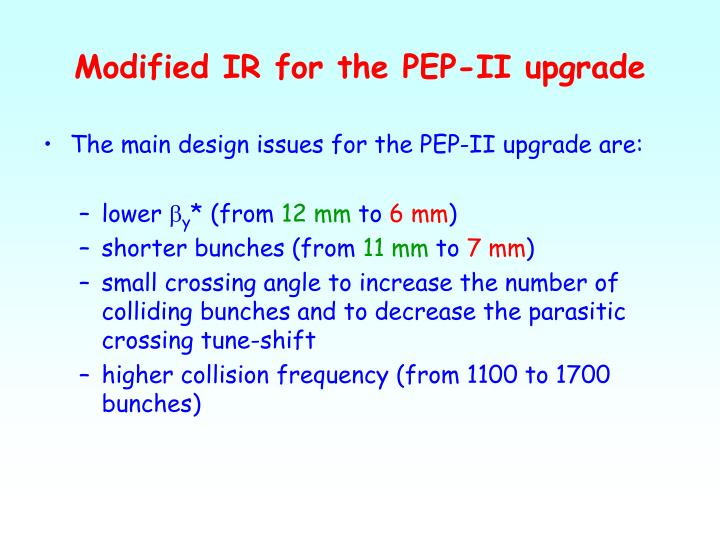 Modified IR for the PEP-II upgrade