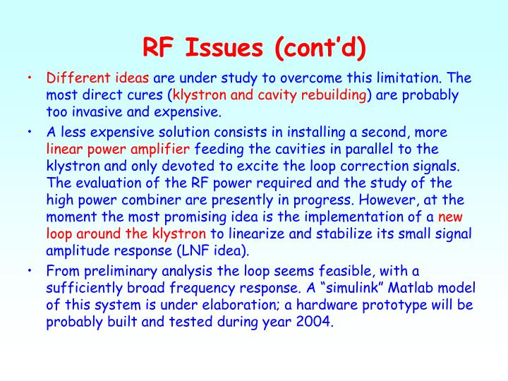 RF Issues (cont'd)
