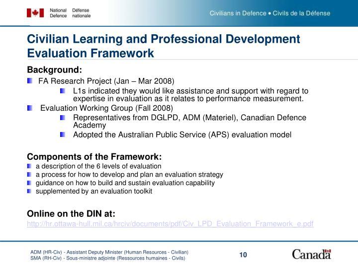 Civilian Learning and Professional Development Evaluation Framework