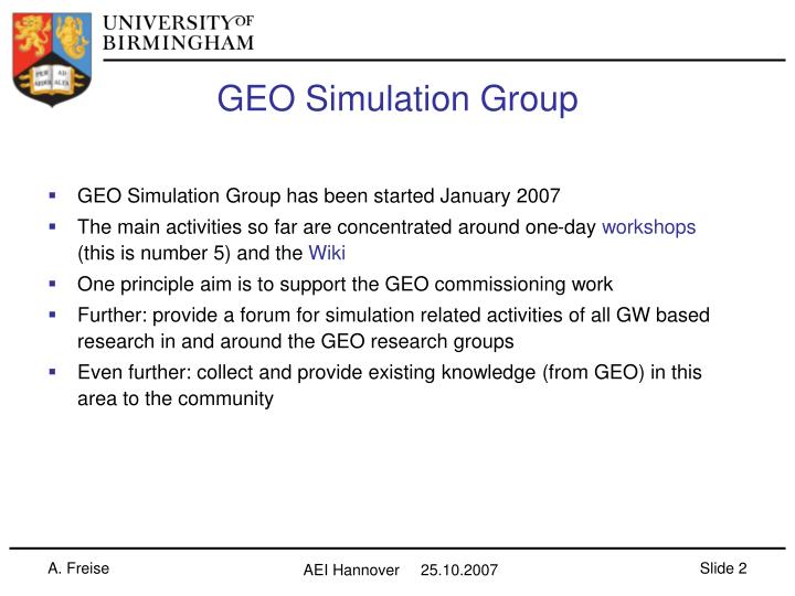 Geo simulation group