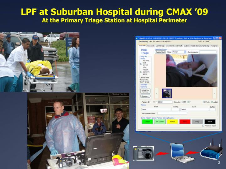 Lpf at suburban hospital during cmax 09 at the primary triage station at hospital perimeter