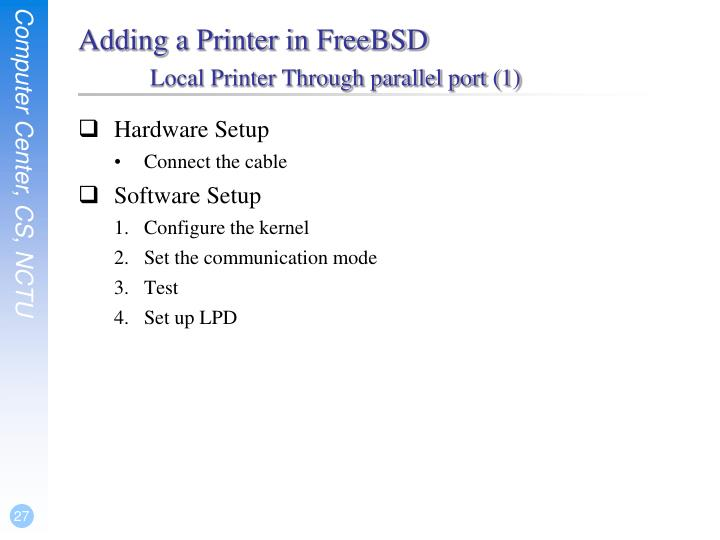 Adding a Printer in FreeBSD