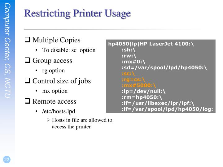 Restricting Printer Usage