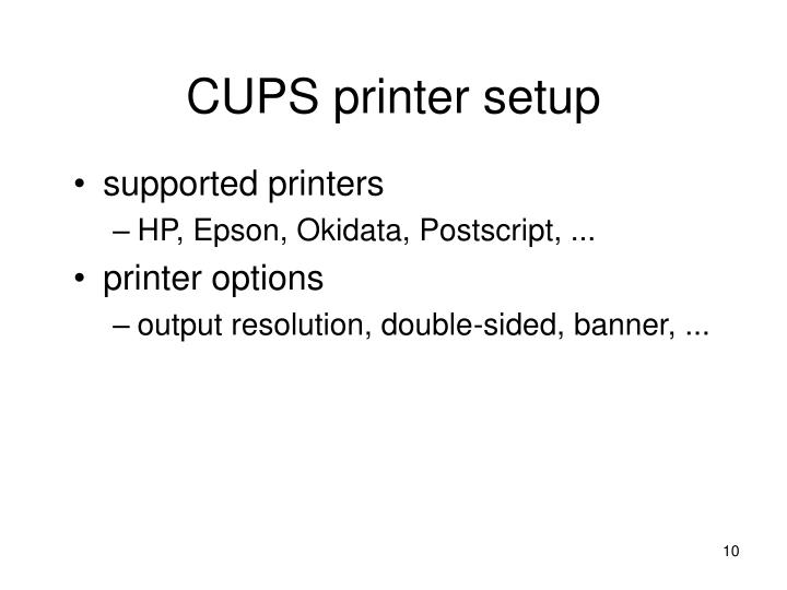CUPS printer setup