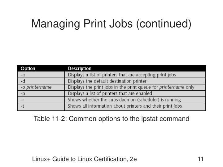 Managing Print Jobs (continued)