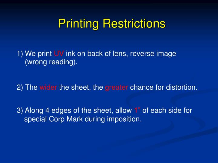 Printing Restrictions