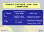 research findings of leader style effectiveness