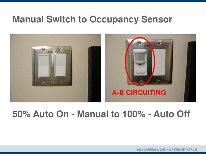 Manual switch to occupancy sensor