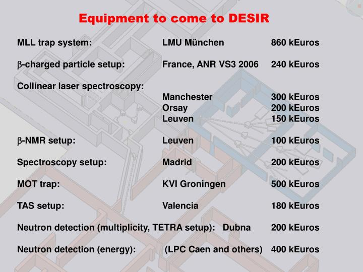 Equipment to come to DESIR