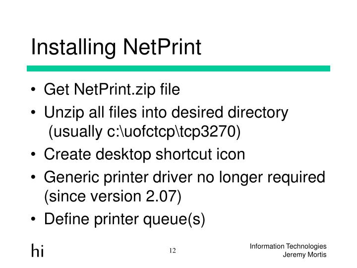 Installing NetPrint