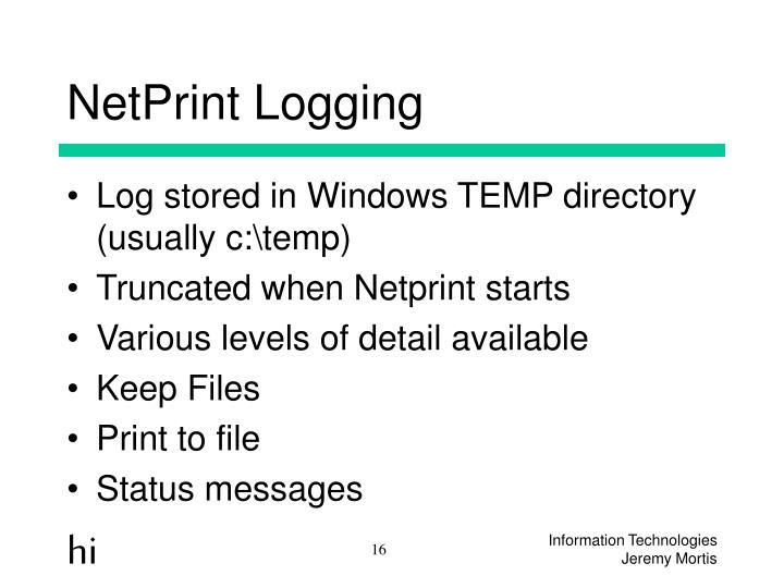 NetPrint Logging