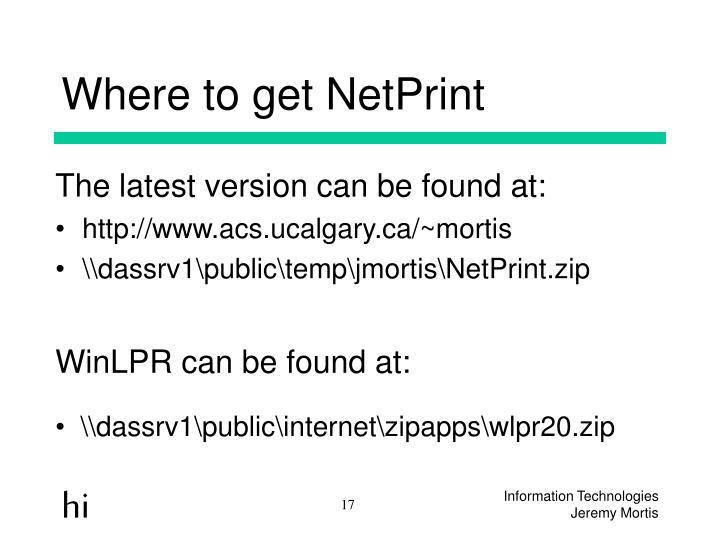 Where to get NetPrint
