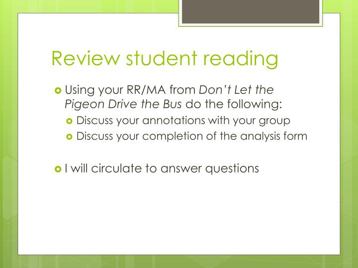 Review student reading