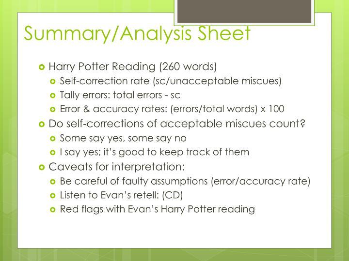 Summary/Analysis Sheet