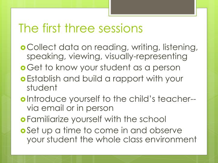 The first three sessions