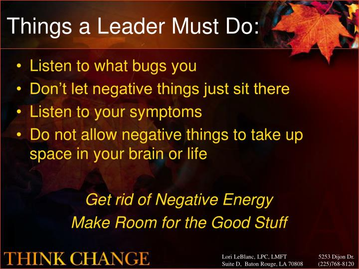 Things a Leader Must Do: