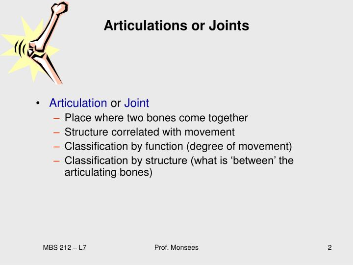 Articulations or Joints
