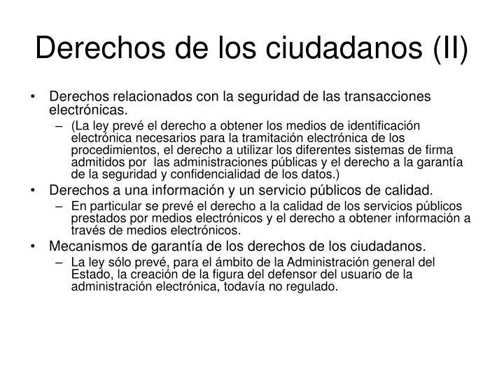Derechos de los ciudadanos (II)