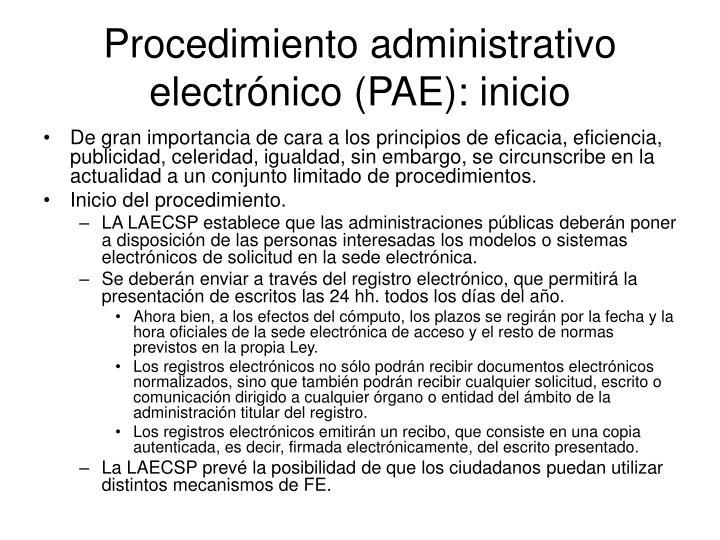 Procedimiento administrativo electrónico (PAE): inicio