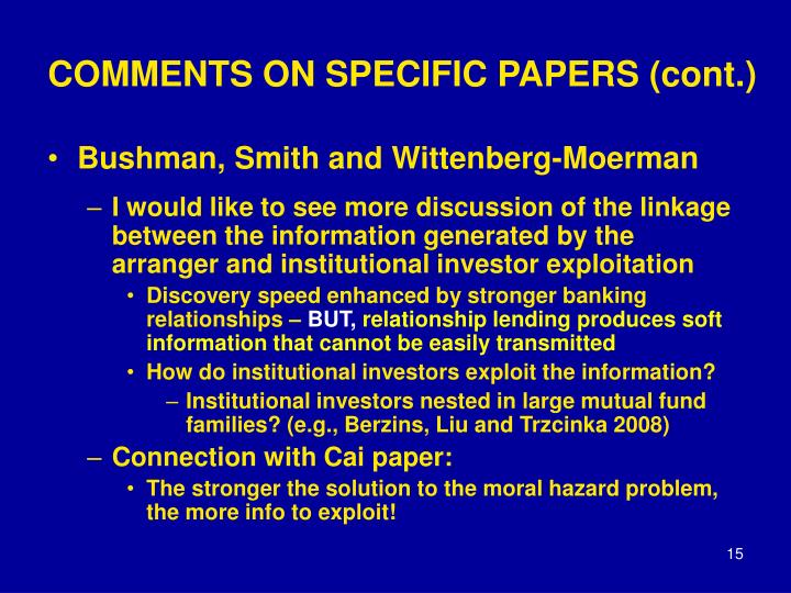 COMMENTS ON SPECIFIC PAPERS (cont.)